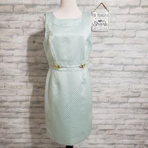 Tahari dress in light blue, gold accents